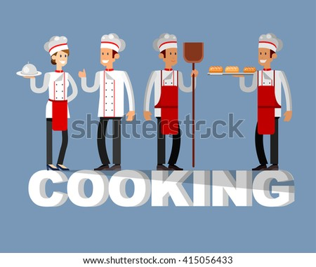 Vector detailed character people in the restaurant,  baker and Chef. Restaurant team people character. Vector restaurant illustration. Cooking and Chef people characters - stock vector
