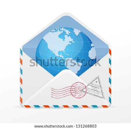 Vector detailed envelope and globe - stock vector