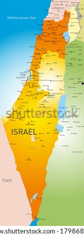vector detailed map of Israel country - stock vector