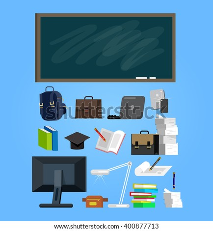 Vector detailed objects for education. Flat style vector illustration background. - stock vector