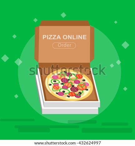 Vector detailed Online pizza order vector illustration. Vector pizza delivery fast to the door - stock vector