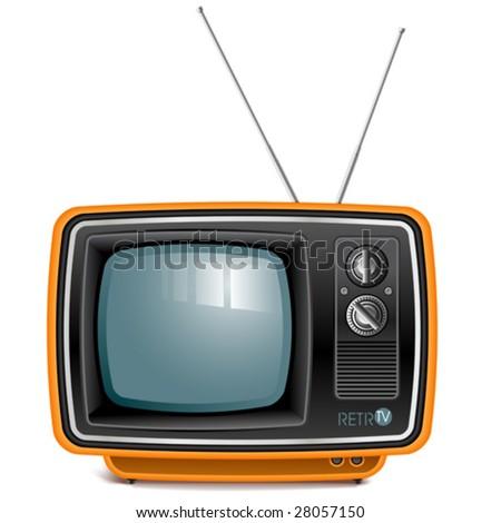 vector detailed retro tv set - stock vector