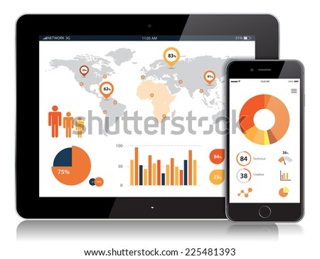 Vector detailed Tablet and Mobile Vector Design./Tablet and Mobile Vector Design/Tablet and Mobile Vector Design - stock vector