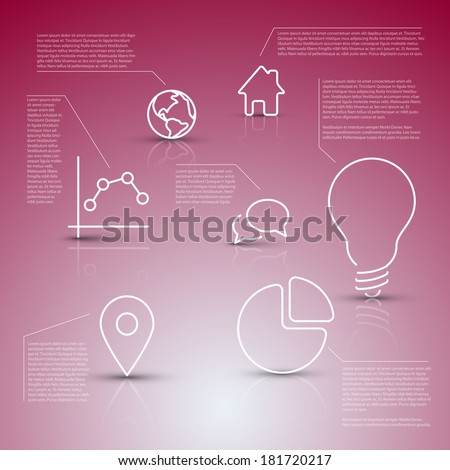 Vector diagram with various descriptive icons - infographic template - stock vector