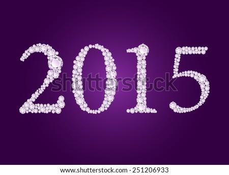 Vector diamond 2015 text on deep purple background  - stock vector