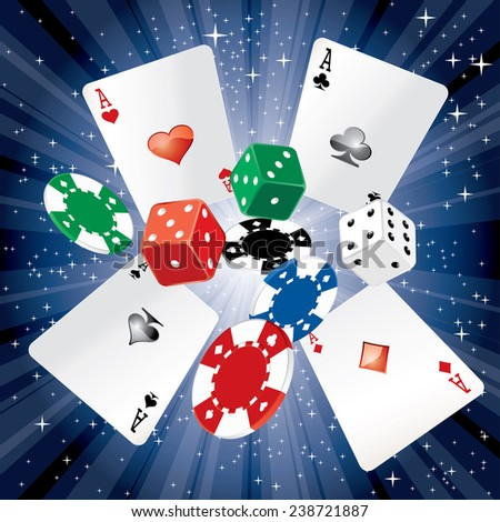 vector dice, cards and gambling chips on starry night background - stock vector