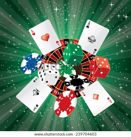 vector dice, roulette, cards and gambling chips on starry night background - stock vector