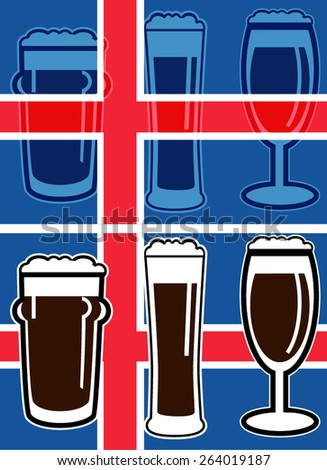 vector different beer glasses on national european flag with transparent - stock vector