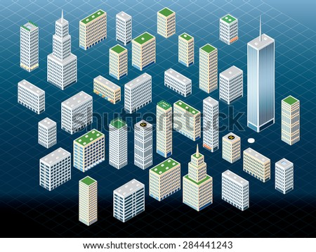 vector different buildings in isometric projection - stock vector