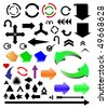 vector different color arrows set - stock vector