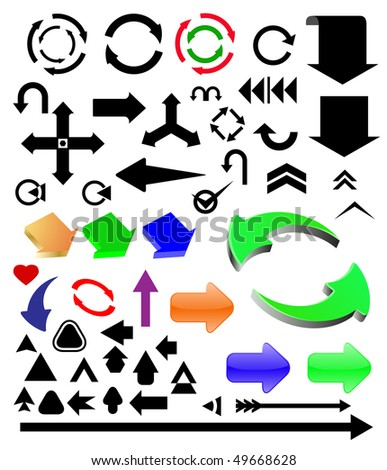 vector different color arrows set - stock vector