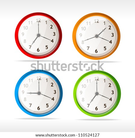 Vector different color timer icons - stock vector