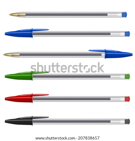 Vector different colors common plastic pens isolated on white - stock vector