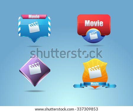 Vector Different Frames Movie Icons, Buttons Design Set - stock vector