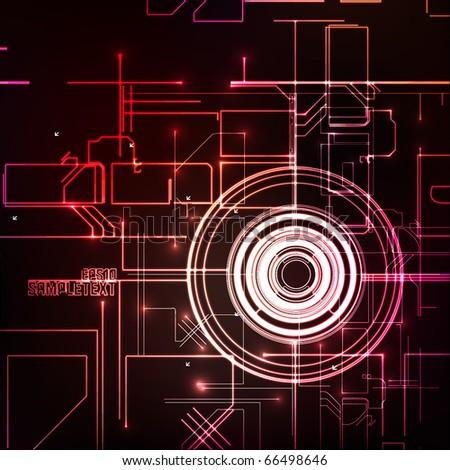 Vector Digital Element Glowing in the Dark - stock vector