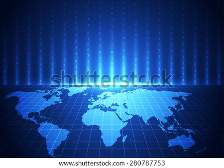 vector digital global communication technology, abstract background - stock vector