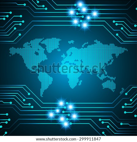 vector digital global technology concept,dark blue abstract background.  Technology background for computer graphic website internet digital. World map - stock vector