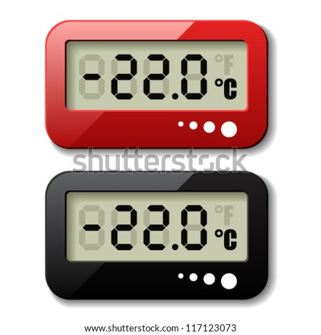 vector digital thermometer icons - stock vector