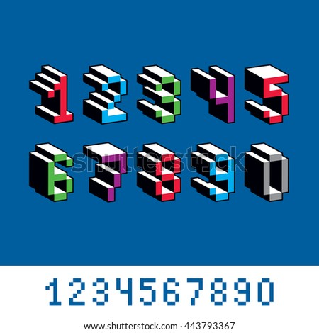 Vector digits, numerals created in 8 bit style. Pixel art numbers set, 3d mathematics design elements. - stock vector