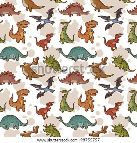 Vector dinosaur seamless pattern - stock vector