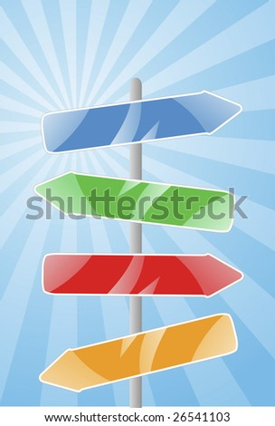 Vector direction signs and retro background. Easy to edit and resize. High quality image. - stock vector