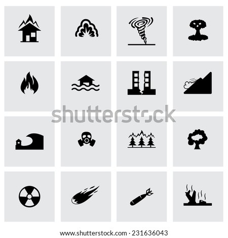 Vector disaster icon set on grey background - stock vector