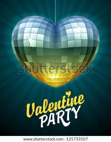 Vector Disco Heart. Mirror disco ball in the shape of heart. Valentine's Day Card 2 - stock vector