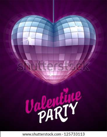 Vector Disco Heart. Mirror disco ball in the shape of heart. Valentine's Day Card 3 - stock vector