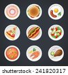 Vector dishes icon set isolated on background - stock vector