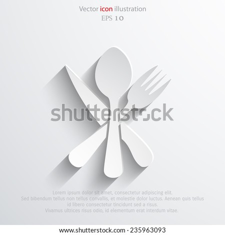 Vector disware and cutlery web flat icon. Eps 10. - stock vector