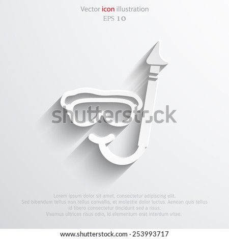 Vector diving mask and tube web flat icon. Eps 10. - stock vector