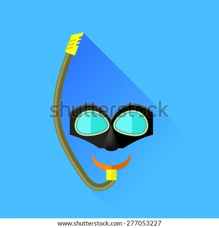 Vector Diving Mask Isolated on Blue Background. Long Shadow. - stock vector