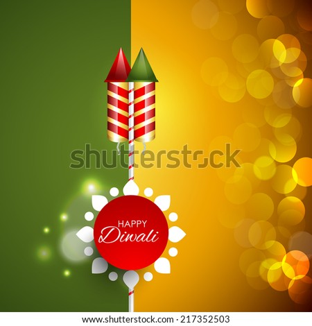 Vector Diwali background, flyer,brochure, magazine cover for Diwali festival with crackers can be used for print and publishing. - stock vector