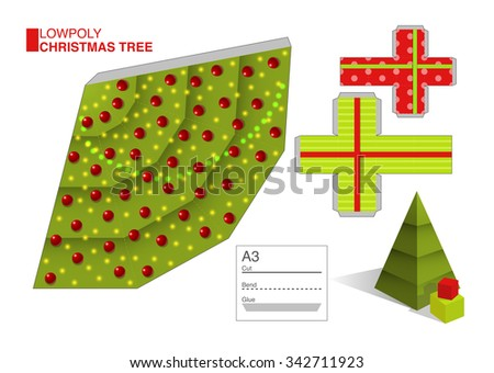 Vector DIY cut and fold pattern template for a Christmas tree and boxes, eps10  - stock vector
