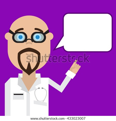 Vector doctor man with a message. Medical staff. Hospital staff in a flat design. Pofessor medicine. Doctor cardiologist man. - stock vector