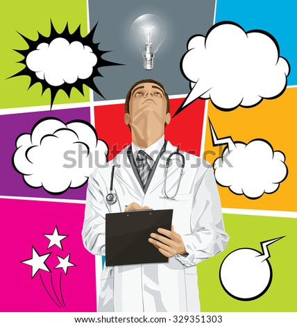 Vector doctor man writing something, looking up, set of comics style speech and thought bubbles - stock vector
