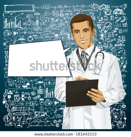 Vector doctor man writing something with marker on clipboard - stock vector