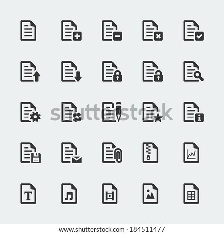 Vector document / file mini icons set - stock vector