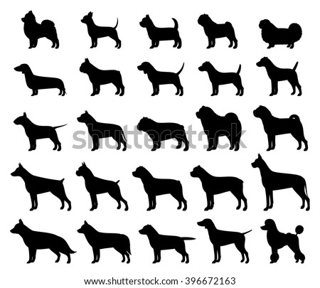 Vector dog breeds silhouettes collection isolated on white. Dog icons collection for cynology, pet clinic and pet shop. - stock vector
