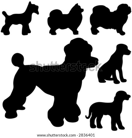 Poodle Head Silhouette Vector dog silhouettes - stock