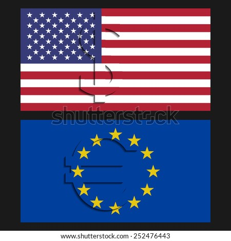 Vector. Dollar and euro flags. - stock vector