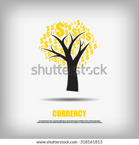 Vector : Dollars currency symbol tree business background - stock vector