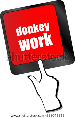 vector donkey work button on computer keyboard key - stock vector