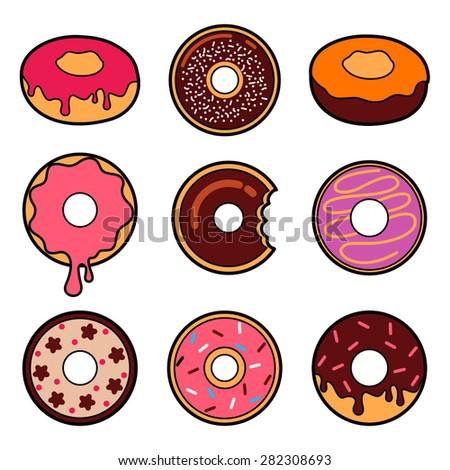 Vector donut icon set - stock vector