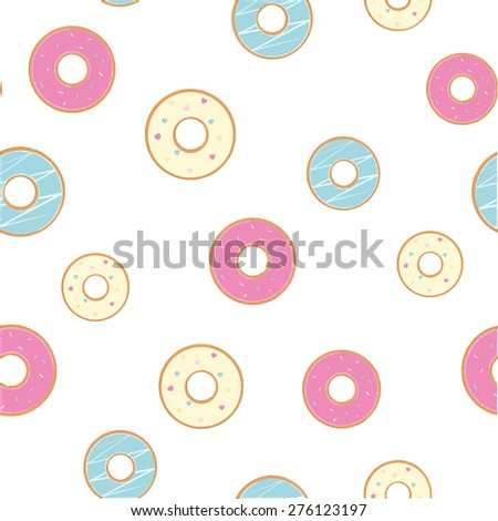 Vector donuts seamless pattern - stock vector