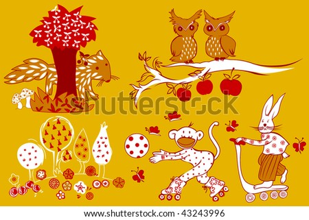 vector doodle animals and trees - stock vector