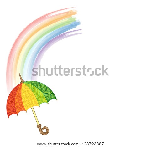 Vector doodle bright umbrella. I love Autumn. Fashion Umbrella Style. Rainbow and rain - stock vector