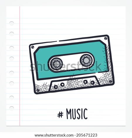 Vector doodle cassette tape icon illustration with color, drawn on lined note paper. - stock vector