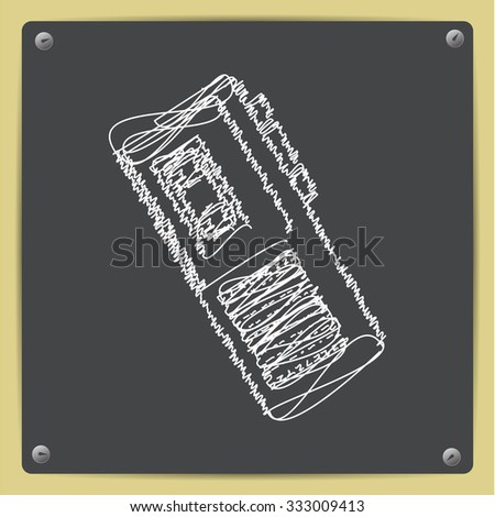 Vector doodle chalk drawn retro dictaphone icon on school blackboard  - stock vector
