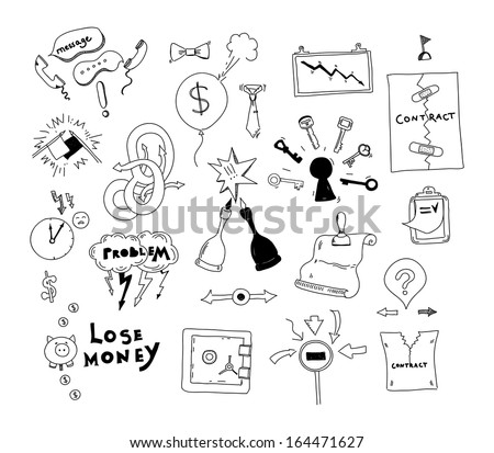 Vector doodle collection of hand drawn illustration of business conflict and problem issues and finding solution for contract deal. Isolated on white background - stock vector